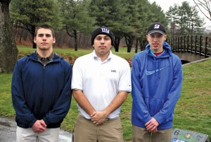 Naugatuck seniors and golf captains, from left, Nick Fox, Jake Alcorace and Ethan Maxwell will lead the Greyhounds on the course this season. –ELIO GUGLIOTTI