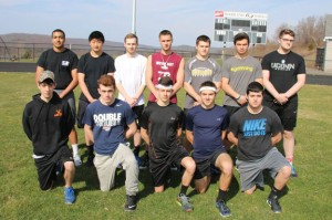 Woodland seniors, front row from left, Mark Brotherton, Brandon Clifford, Jeff Giusto, Brian Sardinskas, Jeremy Rodrigues; back row from left, Damani Rashadeen, Matt Covello, Ryan Soda, Sean McAllen, Matt Hopkinson and Mike Gallagher will lead the boys track team this season. –LUKE MARSHALL
