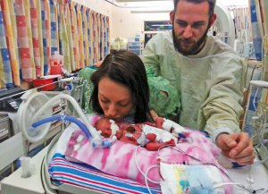 Beacon Falls residents Lauren Hill and Daniel Lapinski are pictured with the daughter, Ella, after she was born premature in 2013. Hill and Lapinski received support from the March of Dimes and will serve as ambassadors during the March for Babies event May 1. –CONTRIBUED