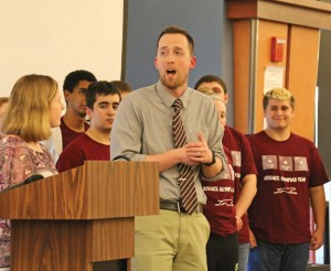 Naugatuck High School science teacher Marc Pardee talks about the 'Serious About Science' team April 7 during the Naugatuck Education Foundation's grant awards ceremony at Naugatuck High.–LUKE MARSHALL