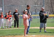 Isabella Tottenham, 12, of Beacon Falls, sings the national anthem April 16 during the Robert A. Cole Little League opening day ceremony at the Pent Road Recreation Complex in Beacon Falls. –LUKE MARSHALL