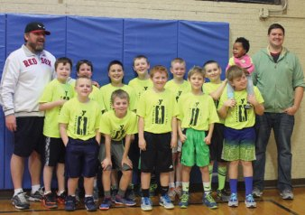 The Naugatuck Teachers League won the Naugatuck YMCA Little Pal juniors championship. The team finished the season 12-1 and beat State Farm in the championship. Pictured, back row, players Tyler Ubben, Matt Stefan, Tyler Hynes, Nate Gendron, William Marcaurele, Brady Evon; front row, Nick Pellow, Brian Barth, Billy Untiet, Sebastian Boscarino and Tim Gairing. -CONTRIBUTED