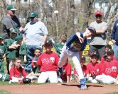 Jack Doxsey, representing the Peter J. Foley Little League minors division, throws out a first pitch during the Little League's opening day ceremony April 17 in Naugatuck. –ELIO GUGLIOTTI