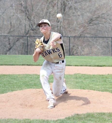 Woodland's Brett Petruny pitches April 22 versus Ansonia in Beacon Falls. –ELIO GUGLIOTTI