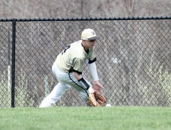 Woodland's Justin Butterworth fields a ball in centerfield April 22 versus Ansonia in Beacon Falls. –ELIO GUGLIOTTI