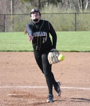 Woodland's Jen Triana delivers a pitch April 13 versus Wilby in Beacon Falls. Woodland won the game, 21-2. -ELIO GUGLIOTTI