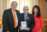 State Sen. Joseph Crisco, Jr., center, accepts the 2015 Connecticut Legislative Champions Award from Beacon Falls resident and National Multiple Sclerosis Society Connecticut Chapter, Chairman John 'Jack' Betkoski, left, and Connecticut Chapter President Lisa Gerrol March 29 during MS Action Day at the state Capitol. Crisco was honored for his commitment to advocating for access to medications and health care for individuals living with multiple sclerosis and other disabilities. –CONTRIBUTED