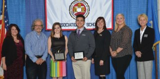 Naugatuck High School students Anthony Conner and Faith Tuscano were honored April 5 at the Connecticut Association of Schools (CAS) High School Outstanding Arts Awards Banquet at the Aqua Turf in Southington. The banquet annually recognizes two seniors in each high school for their outstanding ability in the performing or visual arts. Pictured, from left, Bearingstar Insurance representative Jennifer Lajoie, educator, author and keynote speaker Jonathan Gilman, Tuscano, Conner, Jostens representative Erika Metevier, Connecticut Department of Education Arts Consultant Jackie Coleman, and CAS Executive Director Karissa Niehoff. –CONTRIBUTED