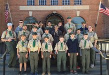Boy Scout Troop 258 from Prospect camped out at Camp Henderson near Cooperstown, N.Y., in April. The trip included hiking at Robert V. Riddell State Park in Oneonta, N.Y., and visits to the Baseball Hall of Fame and Howe Caverns. Pictured, front row from left Nicholas Santovasi, Nick Christiano, Nathan Bouffard, Matt Bryant, Aiden Kennedy, Rjay Strumski; middle row from left, Greg Peach, Joseph DeDomenico, Brian Kiefer, Michael Molinari, Casey Redd, Brendan Poudrier, Jenn Bryant; back row from left, Andrew Bryant, Jacob Marks, James Nelson, Connor Sargent, Gabe Corales, Sebastian Corales, Zach Telesca, Hayden Bartlett and Bailey Williams. –CONTRIBUTED