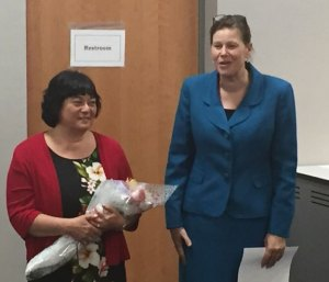 Giocomina Bacon, left, was unanimously chosen by the Naugatuck Board of Education May 12 to oversee the borough's early childhood (preschool) education program. She is shown here at the meeting with Superintendent of Schools Sharon Locke. –REPUBLICAN-AMERICAN