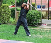 Sensei Logan Bond, from the Bond School of Self Defense in Naugatuck, demonstrates martial arts on the Naugatuck Green May 21 during the Lavender Ribbon Fair. The fair was put on by Naugatuck High School students Cassidy Baranowski and Emily Tribanas as their civic action project to raise money for the St. Jude Children's Research Hospital. In addition to the martial arts demonstration the fair featured vendors, games and raffles. The fair raised over $2,600 and donations are still being accepted. For more information or to donate, email lavenderribbonfair@gmail.com. –LUKE MARSHALL