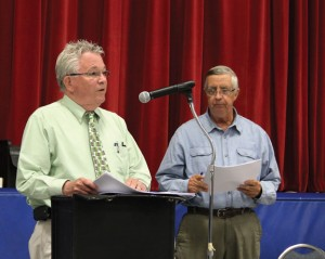 Prospect Mayor Robert Chatfield discusses the town's 2016-17 budget as moderator Robert Hiscox looks on during a town meeting April 28. The $8.27 million municipal budget was approved at the meeting. –ELIO GUGLIOTTI