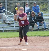 Naugatuck's Taya Diaz throws to first for an out Monday versus Woodland in Beacon Falls. Naugatuck won the game, 5-1. –ELIO GUGLIOTTI
