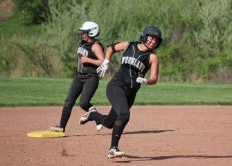 Woodland's Ivy Geloso (6) heads to third base as Cam Caswell reaches second on a double versus Wolcott May 12 in Beacon Falls. Wolcott won the game, 9-7. –ELIO GUGLIOTTI