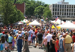 People fill Maple Street in Naugatuck during the annual Duck Day & Race last year. –FILE PHOTO