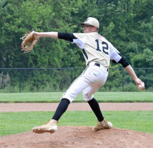 Woodland's Tyler Boisvert pitches versus Brookfield in the qualifying round of the Class M tournament Saturday in Beacon Falls. Brookfield won the game, 1-0. –KEN MORSE