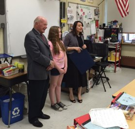 """Cross Street Intermediate School student Belle Jason was recently honored for being among the winners of the 2nd annual Women's History Month Essay Contest. All Naugatuck sixth-grade students were invited to participate in writing a 300-word essay on """"How a Connecticut Woman Made a Contribution to the State and/or Nation and How it Affects Me."""" -CONTRIBUTED"""