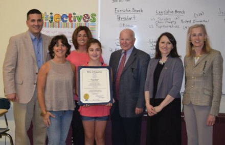 "Hillside Intermediate School student Alena Rotatori was honored for being among the winners of the 2nd annual Women's History Month Essay Contest. All Naugatuck sixth-grade students were invited to participate in writing a 300-word essay on ""How a Connecticut Woman Made a Contribution to the State and/or Nation and How it Affects Me."" -CONTRIBUTED"