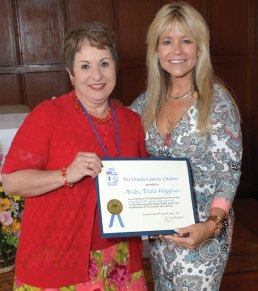 Prospect resident Trudy Higgins, left, receives the Ursula Laurus Citation from The College of New Rochelle from Judith Huntingtin, president of the college, in New York on June 7 during the 1971 college reunion. The Ursula Laurus Citation recognizes selfless and generous devotion to the ideals of Ursuline education. Higgins has spent the last 34 years working in the field of mental health and addiction services. She has served and continues to serve on numerous state, local and nonprofit boards and committees. –CONTRIBUTED