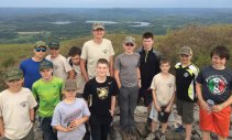 Boy Scouts from Troop 258 in Prospect backpacked and hiked the tallest peak in the state, 2,316 feet, May 21 at Bear Mountain in Salisbury. After hiking the peak they slept out on the Appalachian Trail for the night. Pictured, front row, Nicholas Santovasi, Aaron McKay, Nathan Bouffard, Joseph DeDominco, Zach Telesca, Nick Christiano, Brian Kieffer; back row, Jeff Varesio, Logan Molinari, Brendon Peach, Hayden Bartlett, Zach Bertrand and Jacob Marks.