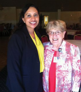 Dr. Archna Johar, left, was the guest speaker at a recent Naugatuck Woman's Club luncheon. Johar, who is pictured with club President Laura Smith, gave a presentation on eye concerns. –CONTRIBUTED