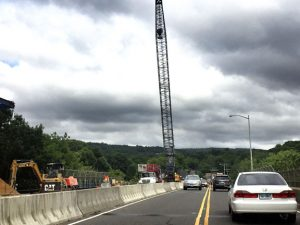 Traffic throughout Naugatuck has been backed up for the past week as two simultaneous bridge reconstruction projects are underway, including this project on the bridge over Route 68. –REPUBLICAN-AMERICAN