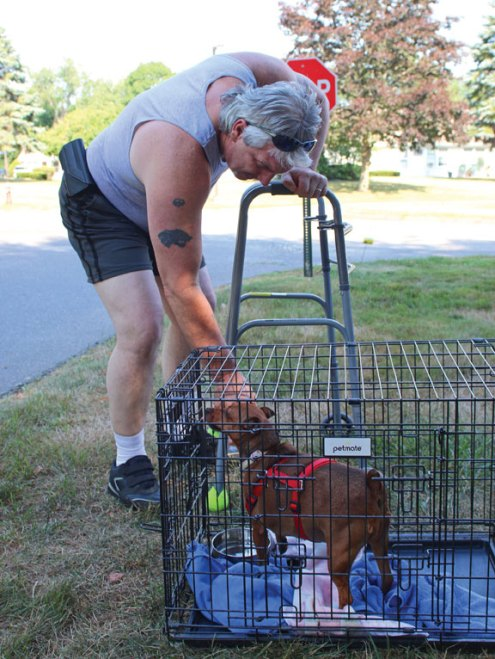 Rich Tabaka, of Naugatuck, pets Samantha, a dog who is available for adoption through Rose Hope Animal Refuge, July 21 during a Car Cruise at Beacon Brook Health Center in Naugatuck. The event featured vintage cars and raised money for Rose Hope Animal Refuge, a Waterbury-based nonprofit organization that helps finds homes for animals. –LUKE MARSHALL