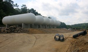 Six new propane storage tanks are being installed at the site of a new business on Haviland Drive in the Pinesbridge Commerce Park in Beacon Falls. –LUKE MARSHALL