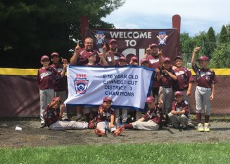 The Union City Little League 9-10 District All-Stars won the Connecticut District 3 championship July 16, beating Derby, 12-11, at Prospect Memorial Field. The team rallied from two runs down in the bottom of the sixth inning to earn the walk-off win. It is UCLL's first baseball district title since 1996. Pictured, players Aidan Adanosky, Damon Abate, Andrew Tyszka, Dylan Sepulveda, Jake Sanchez, Tyler Stankey, Kaiden Spinella, Brendan Lyles, JoJo Guzman, Nate Gendron, Alex Teixeira, Anthony Shivas, Ryan McLaughlin, coaches Ed Tyszka (head), Don Shivas and Sean McLaughlin. –CONTRIBUTED