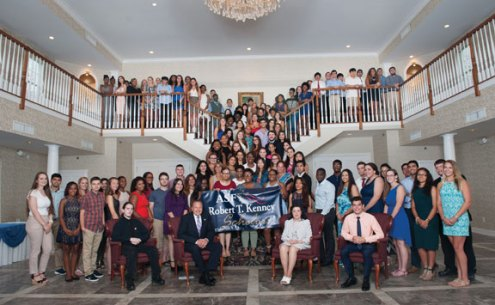 Casey Stevens, of Beacon Falls, Daman Brar, Tamanna Brar, Elizabeth Crabtree and Roisin Healy, all of Naugatuck, and Eric Gomez and Alejandro Ortega, both of Prospect, were among the 2016-17 recipients of the Robert T. Kenney Scholarship from the American Savings Foundation. The recipients were honored recently at the annual American Savings Foundation scholarship reception. –CONTRIBUTED