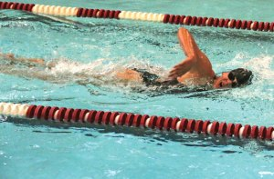 Naugatuck's Addison Best competes in the 200 freestyle against Torrington Sept. 16 at Naugatuck High School. Naugatuck won the meet, 96-82. –LUKE MARSHALL