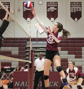 Taylor Hyde and Naugatuck will look to stake the claim to the NVL volleyball crown when tournament action begins Saturday. –FILE PHOTO