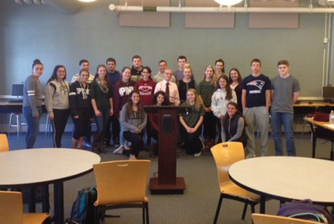 Students in Patricia Corey's Holocaust class at Woodland Regional High School welcomed Andy Sarkany, a Holocaust survivor, on Oct. 7. Sarkany, who has visited the school three times before, spoke to students about his personal experience during the time of the Holocaust in the Budapest ghetto. –CONTRIBUTED