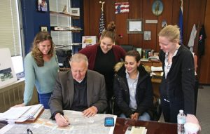 From left, Lorianne Adamaitis, Naugatuck Mayor N. Warren 'Pete' Hess, Light the Night Festival coordinator Shelby Lineweber, Assistant to the Director of Public Works Sandra Lucas-Ribeiro, and Emily Rau discuss plans for the upcoming Light the Night Festival last week at Naugatuck Town Hall. –LUKE MARSHALL