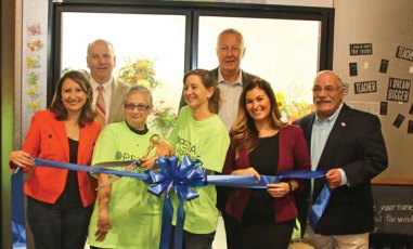 Terri's Flower Shop owners Lydia LeBlanc, front center left, and Stephanie Fusco, front center right, celebrate the opening of their new location at 174 Church St. with a ribbon cutting on Oct. 19. Attending the ceremony was, front row from left, state Rep. Rosa Rebimbas, Naugatuck Chamber of Commerce Director Courtney Ligi, Burgess Rocky Vitale; back row from left, state Rep. David Labriola; and Mayor N. Warren 'Pete' Hess. –LUKE MARSHALL