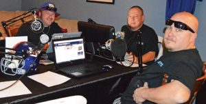 From left, Pat Granahan, Rob Rager, and Dave Walsh, all of Naugatuck, are pictured during a recent broadcast of their internet radio show, 3 Guys Talking Sports. –KEN MORSE