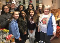 Members of the Naugatuck High School Student Council dropped off over 600 donations of non-perishable items collected through a food drive to the Naugatuck Ecumenical Food Bank before Thanksgiving. –CONTRIBUTED