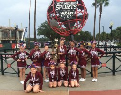 The Naugatuck Pop Warner Pee Wee cheer team took home third place Dec. 6 at the Pop Warner Cheer and Dance Nationals in the Pee Wee small level one category at ESPN in Walt Disney World in Orlando, Fla. –CONTRIBUTED