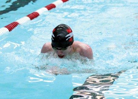 Naugatuck's Jonathan Lauer does the breaststroke during the 200 IM against Woodland Jan. 18 in Naugatuck. Naugatuck won the meet, 90-87. –ELIO GUGLIOTTI