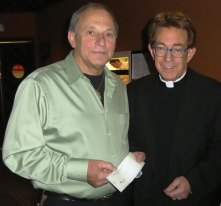 Mirabelle's Italian Restaurant owner Dom Mirabelle, left, presents a check to Father John Gatzak, station manager of WJMJ radio, for relief efforts in Amatrice, Italy, a town that suffered significant casualties and damage from a devastating earthquake in August 2016. Last September, the restaurant offered spaghetti all'Amatriciana, a special entrée that originated in Amatrice, and half the cost of the dish was donated to relief efforts. More than $10,000 was raised, according to a press release. 'I was blown away at the generosity and willingness to help,' Mirabelle said in a statement. 'We served patrons from everywhere WJMJ is heard, from across Connecticut and even from as far away as Massachusetts.' –CONTRIBUTED