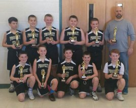 The Prospect fifth-grade boys travel basketball team recently won its bracket in the Fairfield County Basketball League by beating St. Mary's of Ridgefield, 38-34. Pictured, front row from left, Connor Cull, Dean Accetura, Ryan Deptula, Bryce DiGiovanna, Billy Untiet; second row from left, Mason Mastropietro, Jacob Savoy, Ethan Stepputtis, Marco Santiago, Michael Belcher and coach Dean Accetura. –CONTRIBUTED