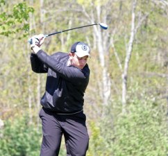 Woodland's Josh Hassan tees off during the Woodland Invitational golf tournament May 4 at Oxford Greens in Oxford. –ELIO GUGLIOTTI