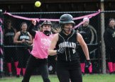 Naugatuck's Megan Schofield throws to first to get the out as Woodland's Brianna Vallejo runs down the baseline May 10 at Woodland Regional High School in Beacon Falls. –ELIO GUGLIOTTI