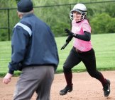 Naugatuck's Briana Tavares heads to third for a triple May 10 against Woodland at Woodland Regional High School in Beacon Falls. –ELIO GUGLIOTTI