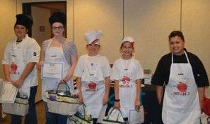 Western Elementary School student Emma Jackson, center, of Naugatuck competed in the 4th annual Valley Initiative to Advance Health and Learning in Schools Healthy Cooking Competition at Griffin Hospital in Derby on May 23. Pictured with Jackson are Anthony Nakis, who won the competition, from Derby Middle School, Victoria Caiza from Seymour Middle School, Kayla Kilincoglu from Perry Hill School in Shelton and Colin Cepeda from Mead School in Ansonia. –CONTRIBUTED