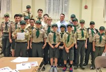 Prospect police Officer Steve Noreika taught Boy Scouts from Troop 258 about fingerprinting during the troop's April 27 meeting. The scouts, who all got fingerprinted, also learned how they could assist in crime prevention in their community. –CONTRIBUTED