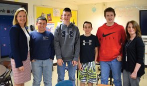 State Rep. Lezlye Zupkus, R-89th District, recently met with eighth-graders at Long River Middle School in Prospect to speak with them about their capstone projects, which focused on state programs to assist veterans. Pictured, from left, Zupkus, students Jack Lawlor, Dale Geary, Martin Swercewski, Matt Swiski and staff member Debbie McMahon. –CONTRIBUTED