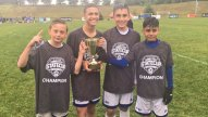 The CT Rush Regional Elite soccer team won the NEP Cup and the CJSA State Cup on June 4. The team will be competing and representing Connecticut in Virginia and Indiana this summer. Pictured are Naugy FC U13 players Patrick Osiecki, Jayden Paniagua, Evan Pinto and Aiden Coelho, who play on the team. –CONTRIBUTED