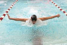 Naugatuck's Spencer Maher does the butterfly during the 200 individual medley during a meet against Oxford on Jan. 19 at Naugatuck High School. Naugatuck won the meet, 97-78. –LUKE MARSHALL