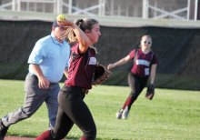 Naugatuck's Julia Pelliccia throws to first after fielding the ball versus Jonathan Law during a Class L quarterfinal game June 1 at Naugatuck High School. Jonathan Law won, 5-2. -ELIO GUGLIOTTI